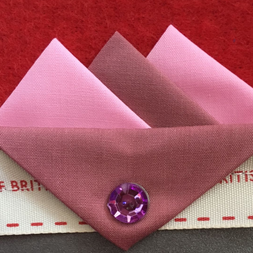 Dark and Light Pink Hankie With Dark Pink Flap and Pin